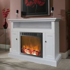 Wooden Fireplace, Fireplace Tv Stand, Home Fireplace, Faux Fireplace, Fireplace Inserts, Fireplace Design, Fireplace Mantels, Fireplaces, Country Fireplace