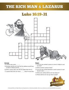 The Rich Man And Lazarus Sunday School Coloring Pages
