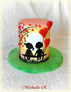 You are my Valentine - Cake by Mischell Fondant Cakes, Cupcake Cakes, Fondant Tips, Doodle Cake, Winter Torte, Happy Anniversary Cakes, Silhouette Cake, Valentines Day Cakes, Painted Cakes