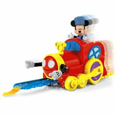All aboard for a magical ride! This mouske-train features two fun ways to play! In Magic Mode, this choo choo knows the way to go! Watch as the engine magically picks up and lays down the train track all by itself! In Classic Mode, you can set up th