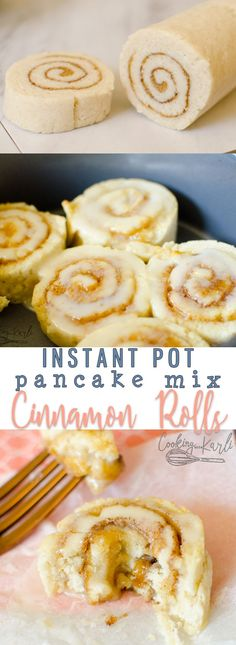 Pancake Mix Cinnamon Rolls are fast, easy and tasty! The dough is made from just three ingredients; pancake mix, sugar and milk. Cooking these in the Instant Pot keeps them soft and moist. Pancake Mix Cinnamon Rolls will be a new favorite treat! Dessert Simple, Instant Pot Pressure Cooker, Pressure Cooker Recipes, Pressure Pot, Pancake Mix Uses, Tasty, Yummy Food, Cake Mix Recipes, Cinnamon Rolls