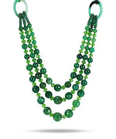 Another great find on #zulily! Green Agate & Crystal Beaded Multi-Strand Necklace #zulilyfinds