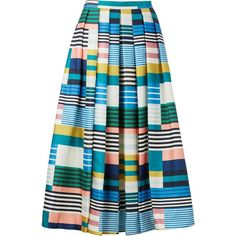 L.K. Bennett Tippi Stripe Full Skirt (7.815 CZK) ❤ liked on Polyvore featuring skirts, colorful skirts, below knee skirts, multicolor skirt, mid calf skirts and stripe skirts
