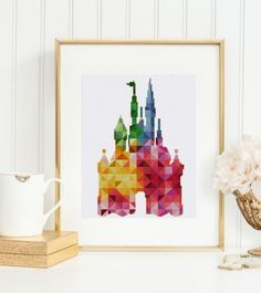 Disney castle cross stitch pattern Nursery geometric fairy baby diy decor