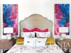 Love the playful + colorful combos in this bedroom!