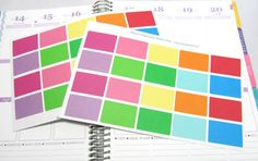 20 Half Box Color Planner Stickers For Your Life Planner. EC Planner Stickers...