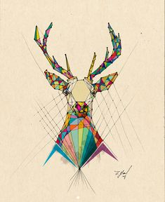 I like the concept used a color spectrum to create this very geometric deer. It reminds me of some of my geometric animal symbol thumbnails and also holds up in black and white. Geometric Graphic Design, Geometric Deer, Geometric Lines, Geometric Designs, Hirsch Design, Animal Drawings, Art Drawings, Polygon Art, Deer Design