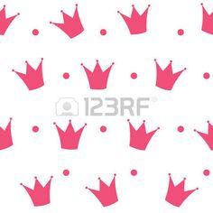 Princess Crown Seamless Pattern Background Illustration. photo