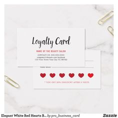 Shop Elegant White Red Hearts Beauty Loyalty created by pro_business_card. Personalize it with photos & text or purchase as is! Loyalty Card Design, Loyalty Cards, Hairstylist Business Cards, Coffee Cards, Heart Hair, Red Hearts, Custom Cards, Professional Business Cards, Punch