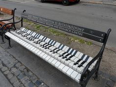 Piano bench promoting the Liszt Museum on Andrassy Avenue in Budapest, Hungary.
