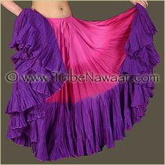 Tribe Nawaar SweetHeart Hand Dyed 25 Yard Cupcake Skirt. Premium quality fluffy tribal bellydance skirt for ATS, ITS, flamenco, folkloric dances, Renaissance Festival, Burning Man or gypsy inspired costumes. Tiered skirt with ombre pink to purple shades is perfect for spinning and skirt tucking