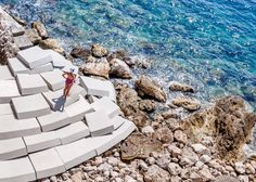 """Eighty-five modular foam seats modelled on """"common concrete building blocks"""" will stack to form a beach installation during the Cannes Film Festival"""