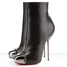 Black Leather Metaliboot Ankle Shoes by Christian Louboutin: Gracious! #Shoes #Christian_Louboutin #Metaliboot