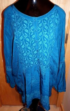 NWT JOHNNY WAS 2X Teal Turquoise WORKSHOP EMBROIDERED SHIRT TOP Rayon SZ 2X  #JohnnyWas #BlouseShirt #Casual