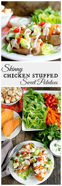 These healthy and light chicken stuffed sweet potatoes will leave you feeling energized and satisfied. Seasoned chicken, healthy veggies and crunchy lettuce, you can't go wrong. The perfect easy weeknight meal.  You'll love this healthy recipe.