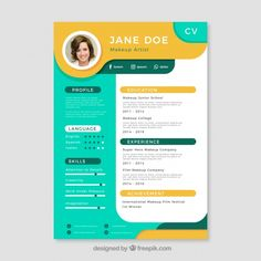 More than 3 millions free vectors, PSD, photos and free icons. Exclusive freebies and all graphic resources that you need for your projects Graphic Design Cv, Graphic Design Lessons, Graphic Design Templates, Design Design, Curriculum Template, Cv Curriculum Vitae, Portfolio Resume, Portfolio Web Design, Portfolio Layout