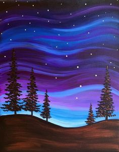 Browse our upcoming painting classes and events at Exton Pinot's Palette! Reserve your seat for the best paint and sip experience today! Simple Canvas Paintings, Easy Canvas Painting, Diy Painting, Painting & Drawing, Galaxy Painting, Easy Acrylic Paintings, Sillouette Painting, Night Sky Painting, Blue Painting