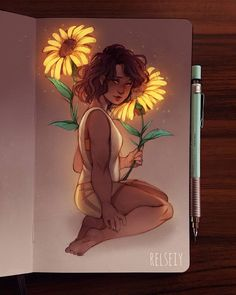 Bright Sunflowers 🌻 I wish i could include a close up of the face, you'll see her little dimples! This is sorta matching another drawing i… Art Drawings Sketches, Cute Drawings, Sunflower Drawing, Arte Sketchbook, Inspiration Art, Pretty Art, Love Art, Amazing Art, Watercolor Art
