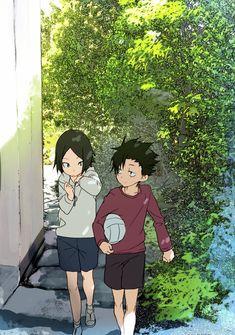 Looks like something out of a Ghibli movie Kuroo X Kenma, Haikyuu Ships, Haikyuu Fanart, Haikyuu Anime, Fanarts Anime, Manga Anime, Anime Art, Hinata, Dark Fantasy