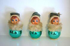 Vintage Christmas Elf Ornament Set of 3, Green Hanging Elves Mid Century