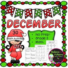* Newly Revised and Updated! Bonus activity included!No Prep! Grade 3! Math for December! Here are 30 math activities to help students review math skills! Your students will adore these fun filled activities for math! Just print and use! Answer keys are included and Table of Contents!
