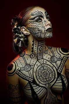 Bodypaintings by Trina Merry From our Ancient Aliens Series Photography by Tim Engle Model Juliana Julianna Steel Hair Mikel Sessions Bodypaint Trina Merry, assisted by Jessica Yurash — with Jessica Yurash, Tim Engle, Mikel Sessions and Julianna Steel.