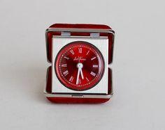 Vintage 60s Seth Thomas Red Chrome Travel Alarm Clock