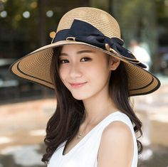 Package wide brim sun hats for women UV bow beach straw hat 019f0ce864d9