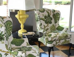 Upholstery: Hot House Flowers in Verdance, 174032. http://www.fschumacher.com/search/ProductDetail.aspx?sku=174032 #Schumacher