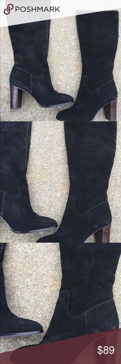 Women's Lord & Taylor Tall Black Suede Boots 8.5B Women's Lord & Taylor 424 Fifth Tall Black Heeled Suede Boots 8.5B. Worn once! Excellent Condition Lord & Taylor Shoes Heeled Boots