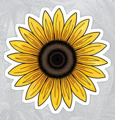 'Sunflower stickers' Sticker by Mhea Anime Stickers, Phone Stickers, Journal Stickers, Cool Stickers, Printable Stickers, Vsco, Sunflower Drawing, Homemade Stickers, Bubble Stickers