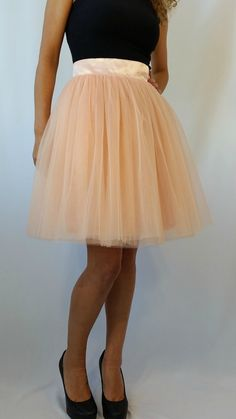"Peach Women Tulle Skirt, Knee length Tutu Skirt, Princess Skirt,  Wedding Skirt -  ""Choose to be me' / EXPRESS SHIPPING / MD10017"