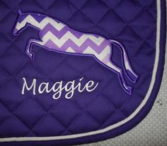 Custom Jumping Horse Applique Embroidered Saddle Pad on Etsy, $40.00