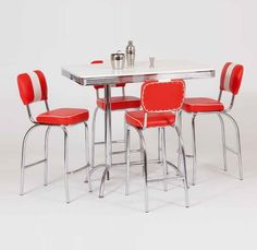 Table in White with Round Chrome frame And Chrome Legs