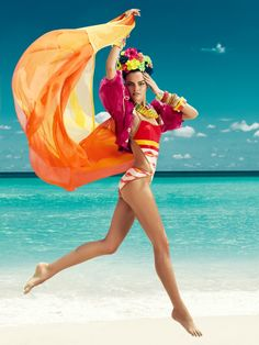 The Colors of Summer – Hitting the beach Barbara Fialho poses for Danny Cardozo in colorful swimwear, for the July issue of Harper's Bazaar Mexico July Beach Editorial, Editorial Photography, Fashion Photography, Strand Editorial, Fashion Shoot, Editorial Fashion, Fashion Editor, Beach Shoot, Moda Fashion