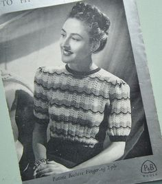 "Knitting Pattern Vintage 1940s Womens Lacy Sweater Jumper Feather and Fan Stitch 40s original pattern P & B 209 34"" Bust"