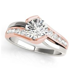 Transcendent Brilliance Modern Graduate 14K Gold 3/4ct TDW Diamond Engagement Ring (Rose/White - Size 8.25)