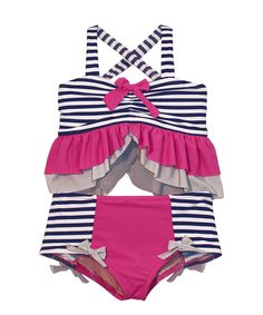 6e62d4f98989f9 Loving this Muddy Feet Boutique Navy & Fuchsia Stripe Ruffle Tankini -  Girls on #