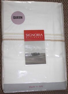 Signoria Firenze White Queen Flat Sheet 100% Egyptian Cotton 450 TC $250 NEW #SignoriaDiFirenze