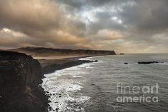 #Reynisfjara, #Europe, #Iceland, #autumn, #cloudy, #dramatic #clouds, #mountain, #sea, #landscape, #nature, horizontal, #coast, #rocks