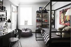 7 Essentials Every Stylish Dorm Room Needs// boys room, canopy bed, beanbag chair, teenagers room
