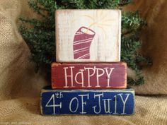 Primitive Country Patriotic Fireworks Happy 4th of July Shelf Sitter Wood Blocks
