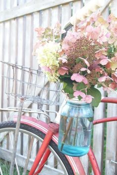 pink flowers and bike