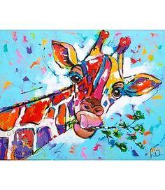 """Vrolijk Schilderij 100 x 80 cm schilderij """"Jonge giraffe"""""""