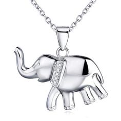 Sterling Silver Reminder Good Luck Elephant Crystal Rhinestones Pendant Necklace