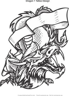 Dragon 1 Tattoo Design Coloring Page Kidscanhavefun