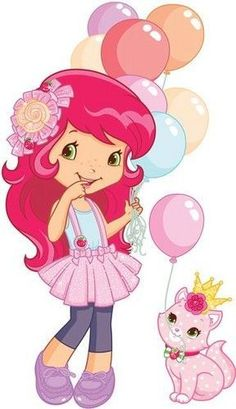 Strawberry Shortcake and her kitty cat, Custard celebrating a birthday with balloons Strawberry Shortcake Cartoon, Strawberry Shortcake Birthday, Clipart, Coloring Book Pages, Cute Art, Cartoon Characters, Paper Dolls, My Little Pony, Bunt