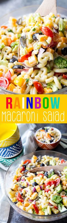 Rainbow Macaroni Salad: A Light macaroni salad loaded with rainbow colored veggies. Tons of flavor, easy to make, and easy to customize to your preference.