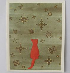 Red Cat Watching Snowflakes Caspari Christmas Card by patternmania, $7.00