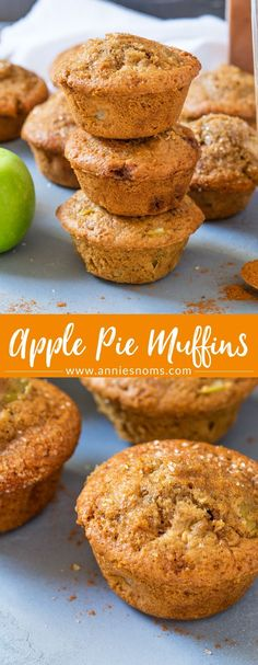 These muffins have all the flavours of an apple pie in portable breakfast form! Make ahead, soft and full of apple chunks, why not treat yourself to apple pie for breakfast one morning?! Apple Desserts, Just Desserts, Delicious Desserts, Yummy Food, Make Ahead Breakfast, Breakfast Recipes, Dessert Recipes, Breakfast Pastries, Breakfast Ideas